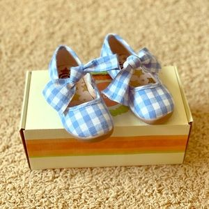 Livie and Luca Blue Gingham Shoes Size 8
